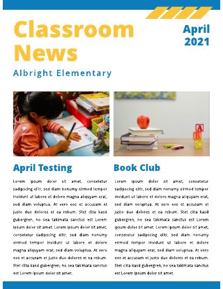 Blue and Yellow Classroom News  School Newsletter Template