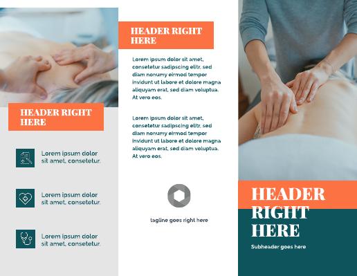 Orange and Blue Massage Medical Brochure Template