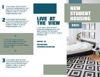 College Dorm Tri-Fold Brochure Template