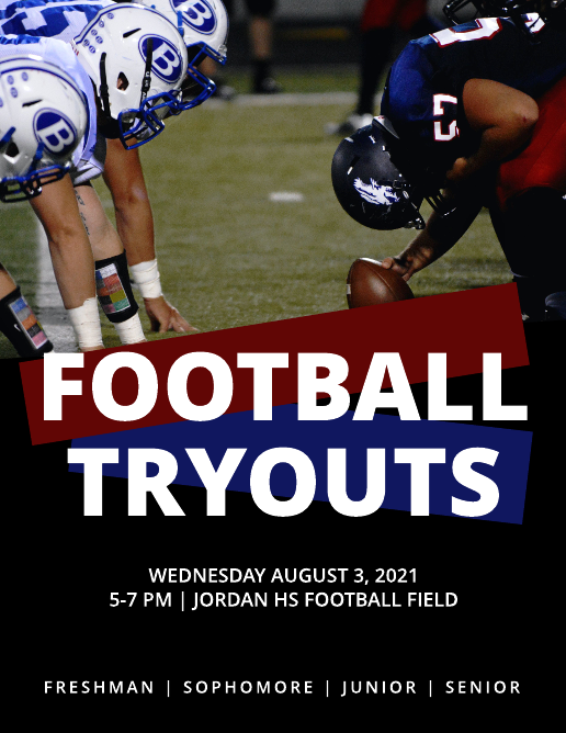 Dark football tryout poster template