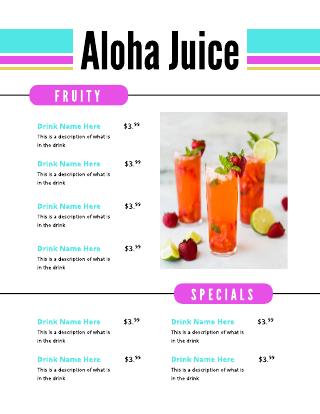 Bright Beach Colors Drink Menu Template