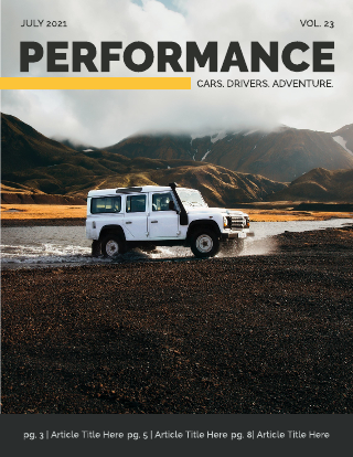 Yellow and Grey Performance Car Magazine Template