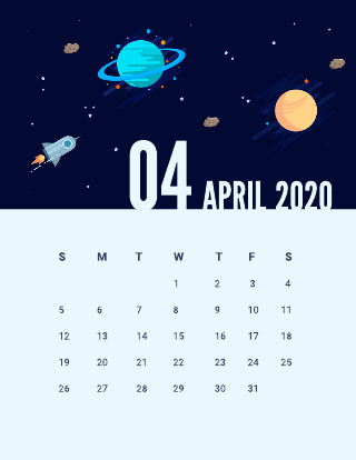 Space monthly calendar template
