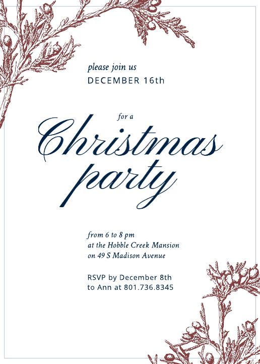 Business Christmas Party Invitation (5x7)