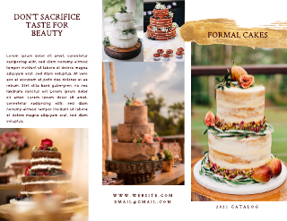 Gold and Maroon Wedding Cake Brochure Template
