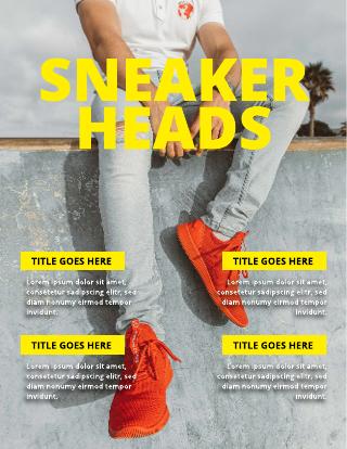 Bright Yellow Mens Fashion Magazine Cover Template