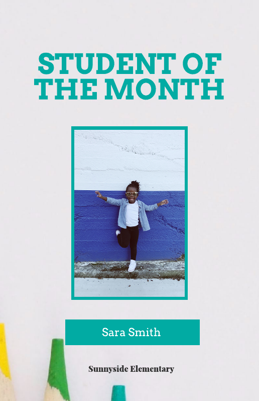 Student of the Month Education Poster Template