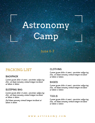 Astronomy Camp Flyer Template