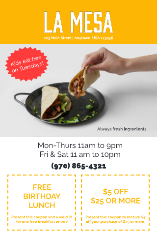 Mexican restaurant coupon template