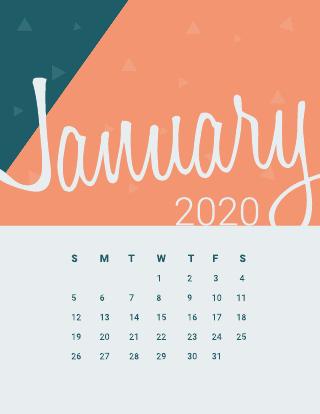 Peachy monthly calendar template