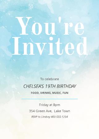 Painted Birthday Invitation Template