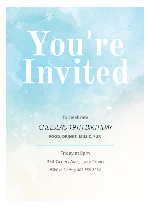 Painted Birthday Invitation Template