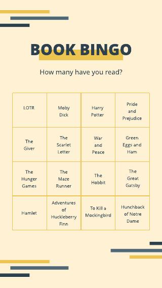 Instagram story book bingo template