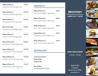 Cuisine Restaurant & Catering Tri-Fold Brochure Template