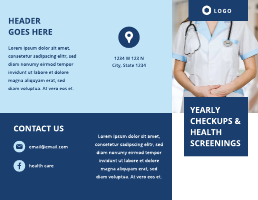 Dark and Light Blue Medical Brochure