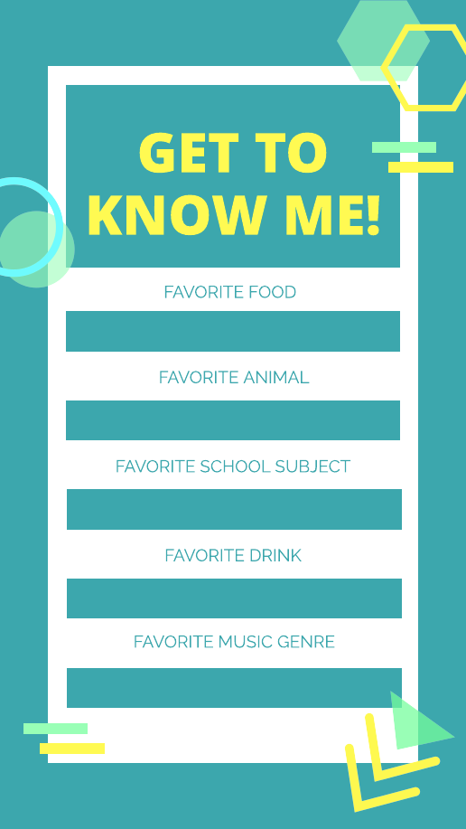 Vibrant Blue and Yellow Get to Know Me Instagram Story Template