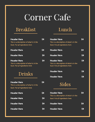 Black And gold Cafe Menu Template