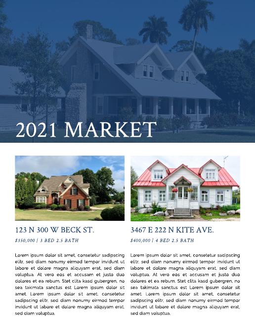 Dark Blue House Listing Real Estate Newsletter Template