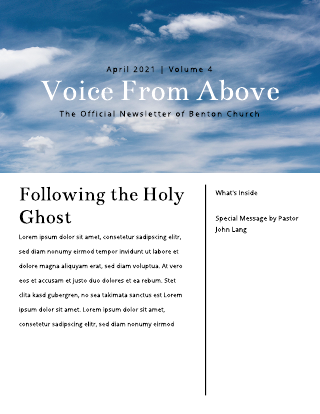 Large Sky Photo Church Newsletter Template