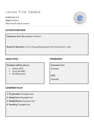 lesson plan sample