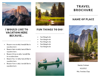Recreation Travel Tri-Fold Brochure Template