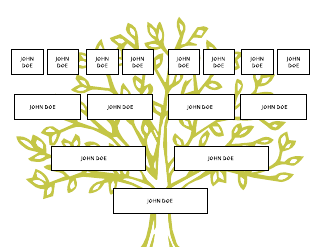 Green Tree Silhouette Family Tree Template