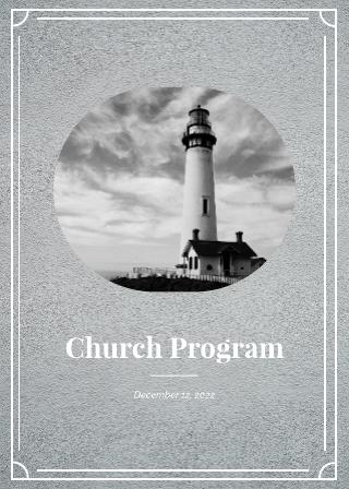 Grayscale Church Program Template