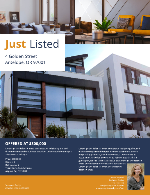 Luxury Bungalow Listing Flyer Template