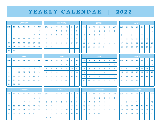 Yearly Calendar 2022
