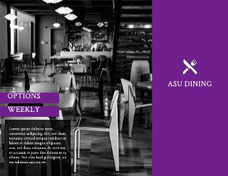 Purple College Dining Hall Tri-Fold Brochure Template