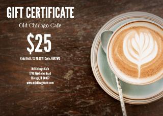 Latte Restaurant Gift Certificate Template