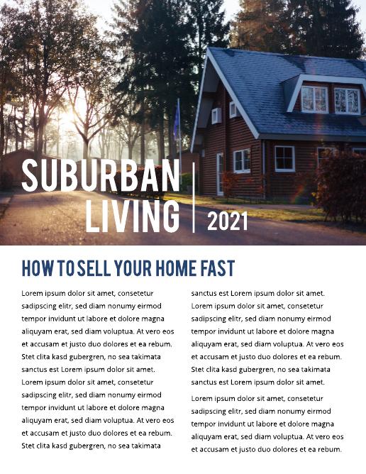 Dark Blue Suburban Living Real Estate Newsletter Template